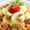 Fresh banana walnut waffle Created By  Posted By Eli France Sweets And Coffee Shop