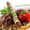 Chocolate Ice Cream Waffle with almond Created By  Posted By Eli France Sweets And Coffee Shop
