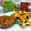 Veggie burger with JG salad Created By  Posted By JG Sandwich Cellar
