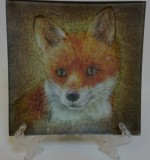 "Decoupage. Glass Plate ""A Fox"" Created By  Posted By Slava"