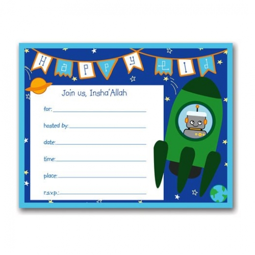 Rockets n Robots Eid Invitations Created By  Posted By Silver Envelope