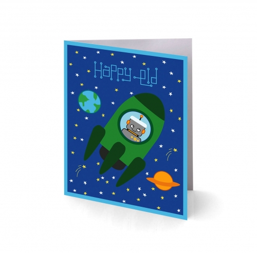 Rockets n Robots Eid Greeting Cards Created By  Posted By Silver Envelope