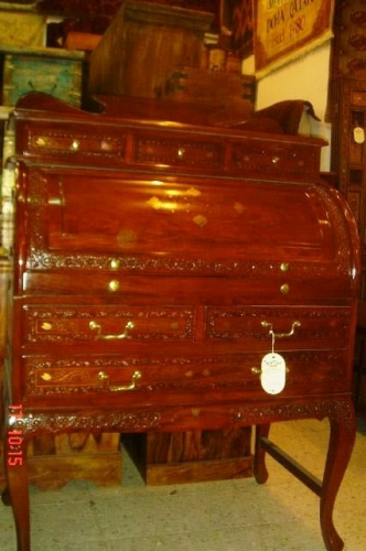 Rosewood Desk with Brass Inlay Created By  Posted By Oriental Carpet Company