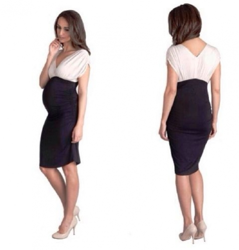 Black and White Maternity Cocktail Dress Created By  Posted By Babybump.qtr