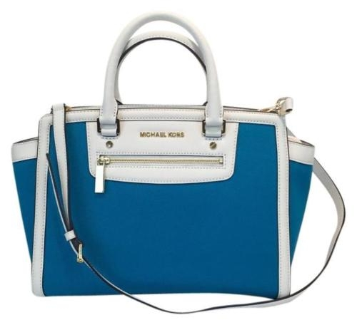 Authentic Large Selma Zip Satchel Canvas Summer Blue Created By Michael Kors Posted By Love2shop4less