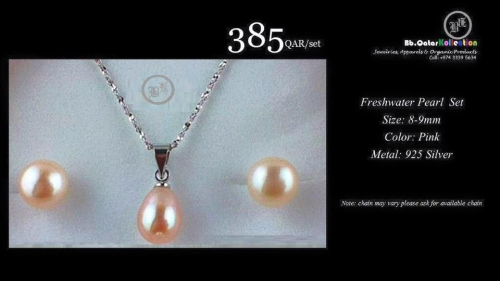 Natural Cultured Freshwater Necklace Set (earings&Necklace) Created By  Posted By Bbqatar Kollections