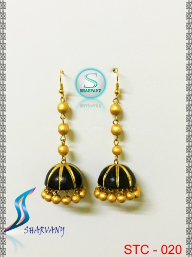 Golden and Black Layered Jhumka Earring Created By Sharvany Posted By Sharvany Terracotta Collections