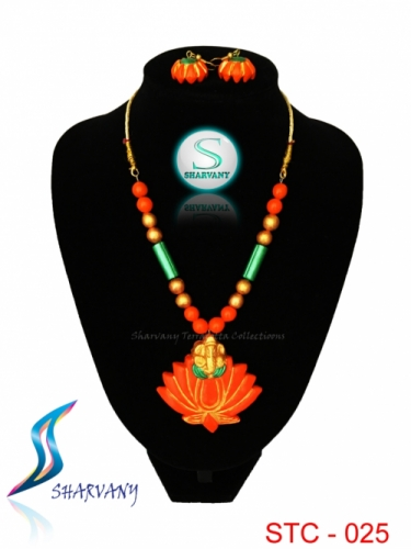 Ganapathy in Lotus Jewellery Created By Sharvany Posted By Sharvany Terracotta Collections