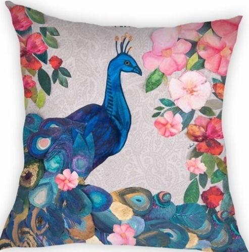 Peacock Cushion Created By  Posted By Cosy Corner