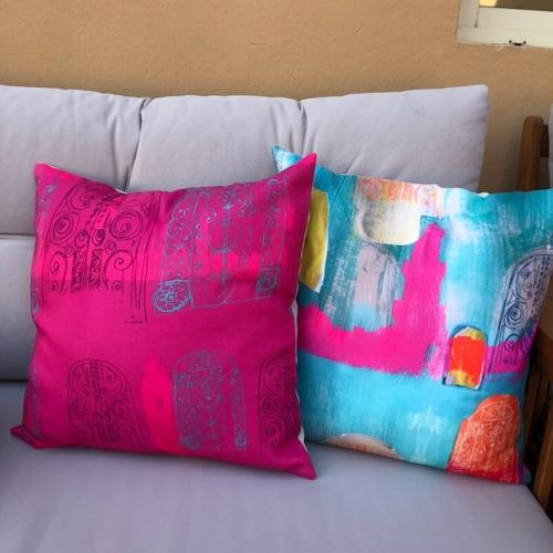 Arabian landscape cushions in bright colors