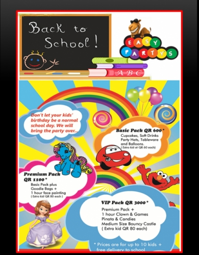 Back to School Promotional Packages Created By Easy Party's Posted By Easy Partys