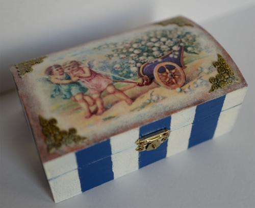 """Decoupage. Wooden Box """"Angels with a lily-of-the-valley"""" Created By  Posted By Slava"""