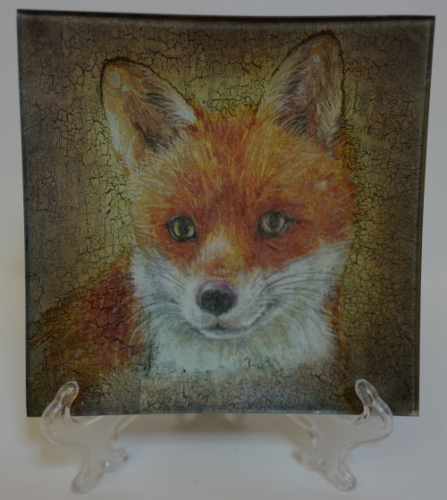 """Decoupage. Glass Plate """"A Fox"""" Created By  Posted By Slava"""