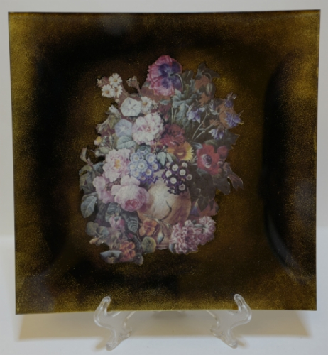 """Decoupage. Glass Plate """"Flowers"""" Created By  Posted By Slava"""