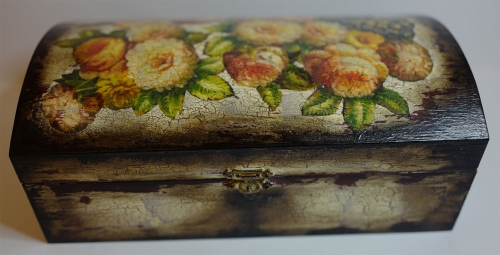 """Decoupage. Wooden box """" Cracks"""" Created By  Posted By Slava"""