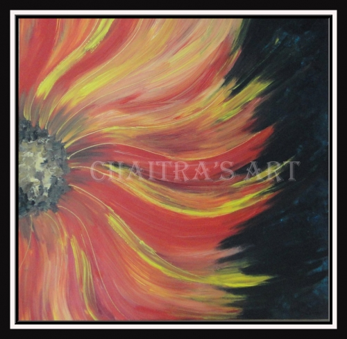 SunFlower - On Canvas - 50 cm X 50 cm Created By Artist Posted By Chaitra Somanath