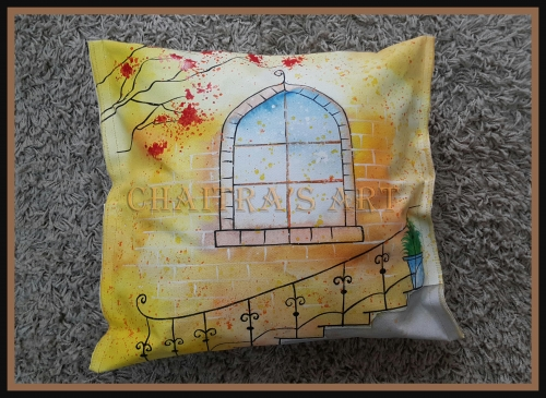 Hand Painted Pillow Case Created By Artist Posted By Chaitra Somanath