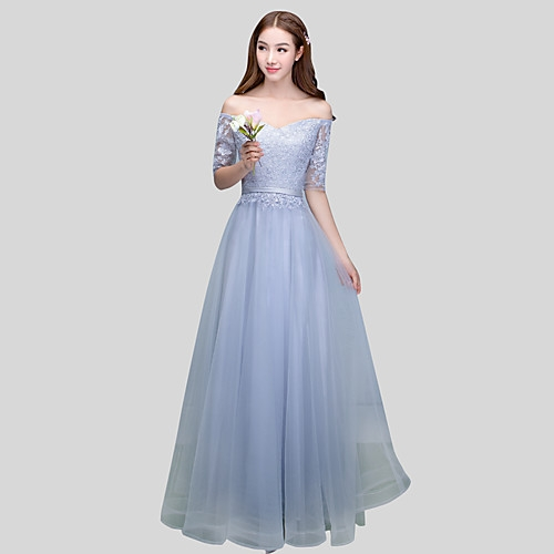 Ball Gown Off-the-shoulder Floor Length Lace Satin Tulle Bridesmaid Dress with Sash / Ribbon Created By aishafashionworld Posted By Aisha Fashion World