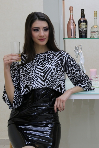 Black Leather Dress and Tiger-Beaded Jacket Created By Maral Azar Posted By Maral Azar
