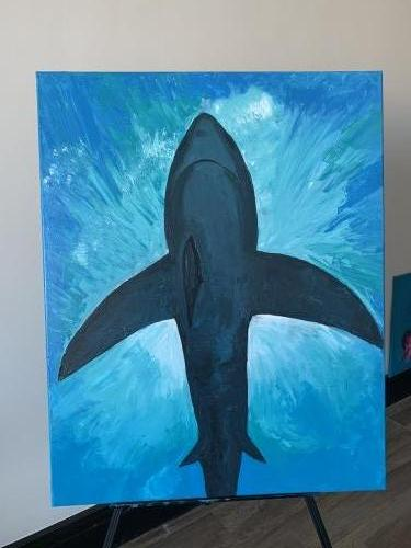 Shark in the shallow 80*100 Created By  Posted By paintwithus