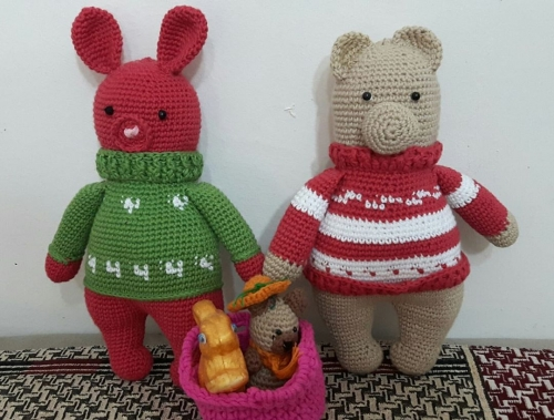 handmade bunny and bear Created By  Posted By Aesthetic Crochet