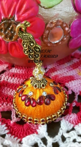 handmade jhumka/ earrings Created By Aesthetic silk thread works Posted By Aesthetic Crochet