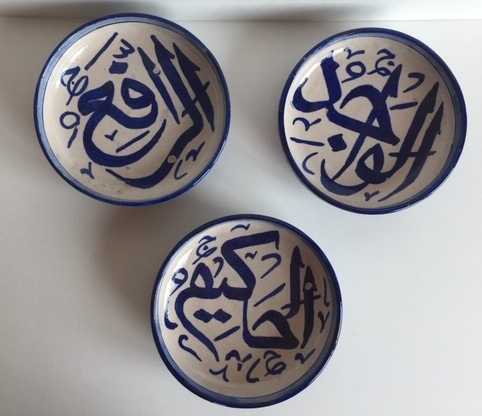 Hand painted calligraphy bowls. Created By zs.trea Posted By Z's Treasure