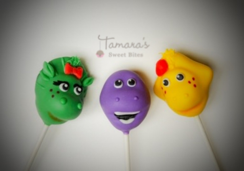 Barney & friends cake pops Created By  Posted By Tamara Sweet Bites