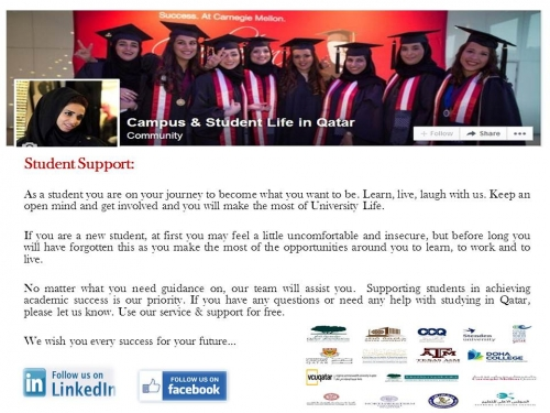 Student Support Services Created By  Posted By Campus & Student life in Qatar